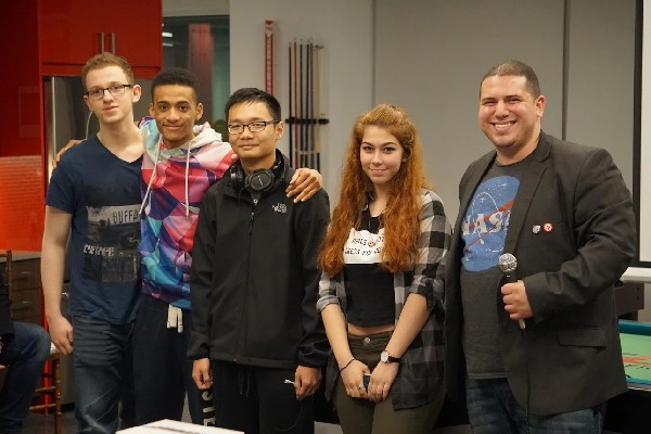 Photo: AI Winners Christopher Tan, Timothy Goltser, Zeynep Akpinar, Curtis Mason. All four are High School students at Staten Island Tech. Their prize was sponsored by Fownders. Photo Credit: Courtesy IDT Corp.