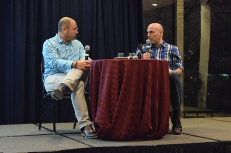 Photo: Aaron Price speaking with Marc Lore at a NJ Tech Meetup. Photo Credit: Matthew Weber