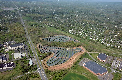 Photo: An aerial photo of the Lilly-KDC solar installation in Branchburg. Photo Credit: Lilly-KDC