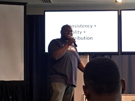 Photo: Anthony Frasier spoke about building an audience at Fownders. Photo Credit: Esther Surden