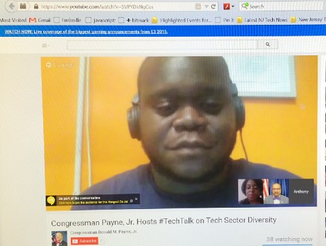 Photo: A screenshot of the Google Hangout #TechTalk on tech sector diversity Photo Credit: Esther Surden