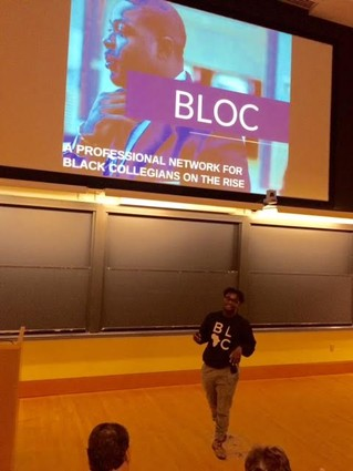 Photo: Achille Tenkiang pitching for BLOC Photo Credit: Esther Surden