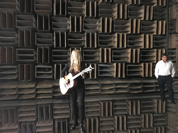 Photo: Beatie Wolfe in Bell Labs' anechoic chamber. Photo Credit: Esther Surden