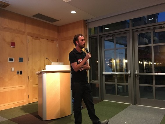 Photo: Ben Bakelaar brought design thinking projects to the Princeton Tech Meetup. Photo Credit: Esther Surden