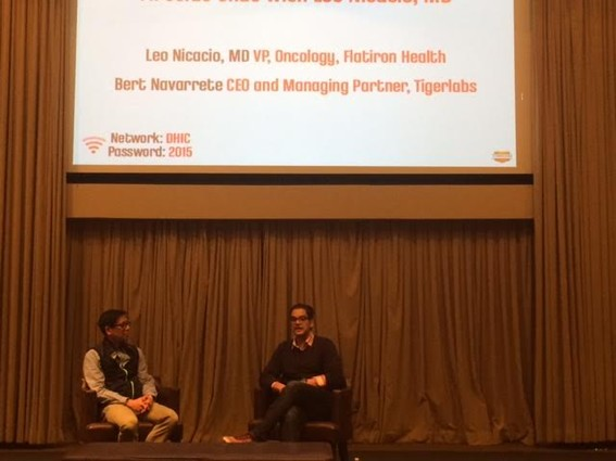 Photo: Fireside chat with Bert Navarrete and Leo Nicacio Photo Credit: Esther Surden
