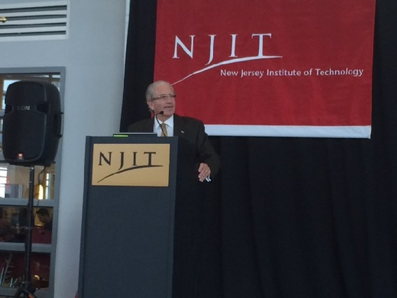 Photo: NJIT president Joel Bloom discusses networking opportunities at the Showcase. Photo Credit: Esther Surden