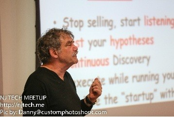 Photo: Bob Dorf, speaking at the NJTech Meetup in January, discussed customer development. Photo Credit: Danny@Customphotoshoot.com