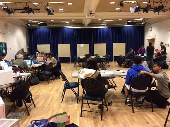Photo: Teams working at the Code for Princeton Art and Data hackathon Photo Credit: Code for Princeton