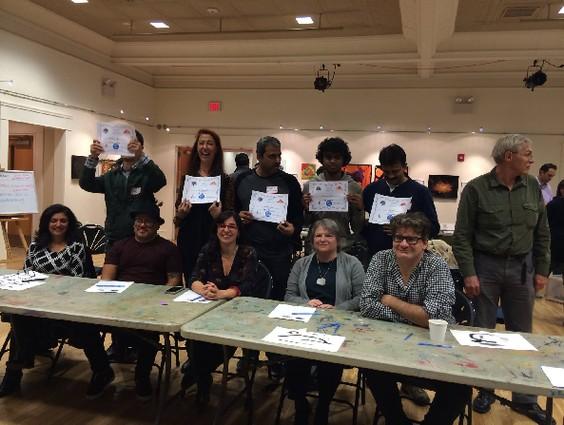 Photo: Winning UnCrash team with the judges- Veneeta Singhal, Marlon Devila, Aylin Green, Allison Miller, Michael Cabus Photo Credit: Code for Princeton