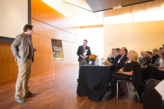 Photo: Caylor answers questions from the Innovation Forum judges. Photo Credit: Denise Applewhite, Princeton Office of Communications
