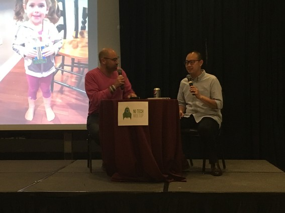 Photo: Aaron Price interviews Chieh Huang at the NJ Tech Meetup. Photo Credit: Esther Surden