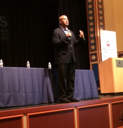 Photo: Sen. Cory Booker talked about his successes using social media, telling small businesses that they can do it too. Photo Credit: Esther Surden