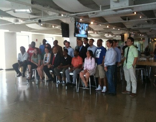 Photo: Cory Booker posed with HackNWK participants Photo Credit: Esther Surden