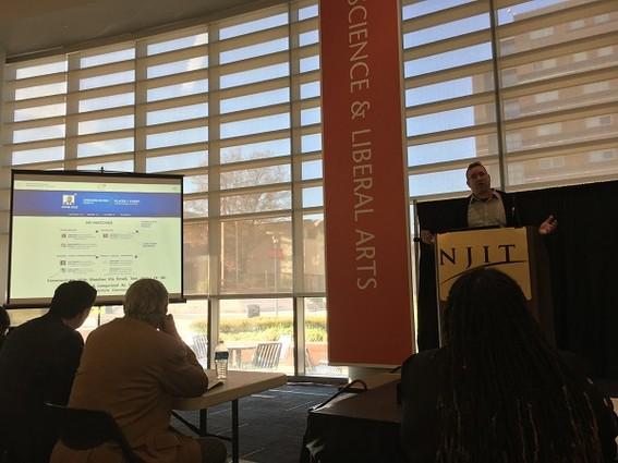 Photo: Darrell Fertakos presents Networkd at NJIT Innovation Acceleration Challenge. Photo Credit: Esther Surden