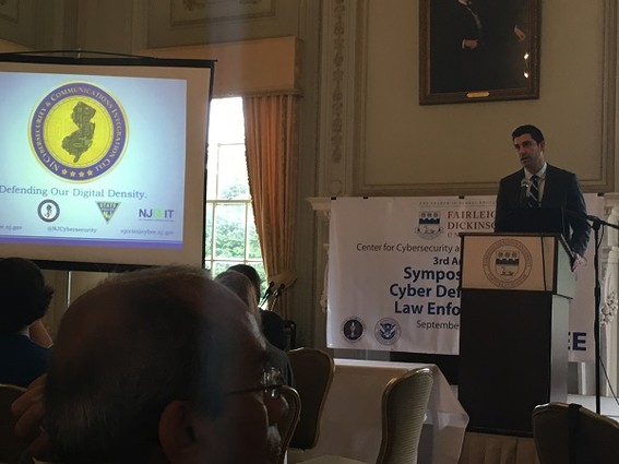 Photo: David Weinstein of NJ CCIC spoke to the cybersecurity symposium at FDU. Photo Credit: Esther Surden