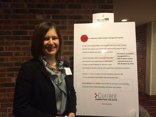 Photo: Denise Spell showed the company's poster of Currant. Photo Credit: Esther Surden