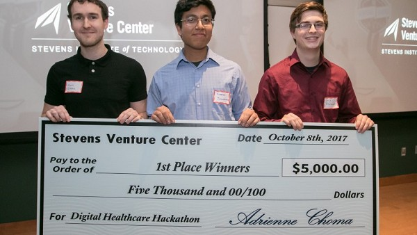Photo: Team Ethyl was awarded $5,000 for an idea for a wrist device that could help former substance abusers. Photo Credit: Courtesy Stevens SVC
