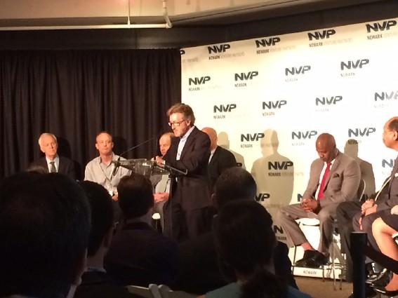 Photo: Audible founder and CEO Donald Katz announces Newark Venture Partners. Photo Credit: Esther Surden