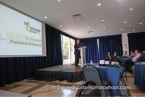 Photo: Stevens president Nariman Farvardin addressed the 200 plus attendees at the NJ Spark Summit in Hoboken.  Photo Credit: Danny@Customphotoshoot.com