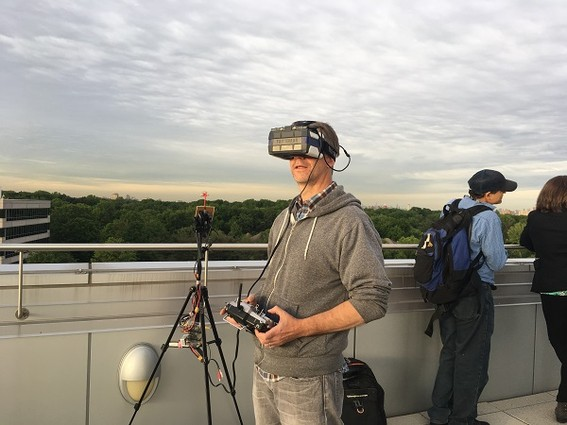 Photo: During 2017, there were many opportunities to take photos of drones, as this N.J. industry literally took off. Here we see a member of the Drone Users Group flying a drone at the NJ Innovative Etailer meetup in June at Kean University. The Etailer group explored the use of drones in the future for e-commerce deliveries. Photo Credit: Esther Surden