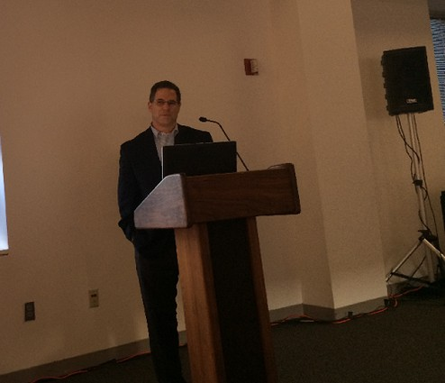 Photo: Eric Korb talks about Accreditrust at an Innovation Tech Meetup. (file photo) Photo Credit: Esther Surden