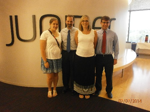 Photo: Scholarship recipient Evan Klein and family visits Juniper OpenLab. Photo Credit: Courtesy Juniper OpenLab