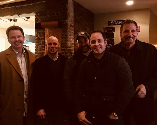 Photo: Chris Tomicki, founder of Profit Tek, Bradley Beach, founder of Covellus, James Curry, founder of Mindfile MultiMedia, TJ Pingitore, founder of UpstartGarden and StudentSuccessUand Hal Hansen, inventor of QLash/QCivue  Photo Credit: Dillan DiGiovanni