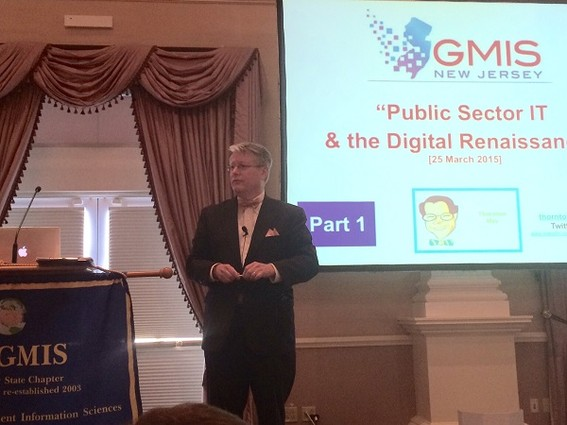 Photo: Keynoter Thornton May at the March GMIS conference Photo Credit: Esther Surden