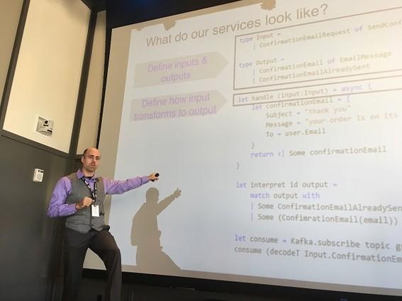 Photo: Gad Berger, senior software engineer at Jet.com spoke about microservices. Photo Credit: Esther Surden