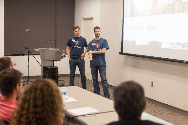 Photo: The GamePlan team presents at the Waterfront Ventures Conference Photo Credit: Johnathan Grzybowski