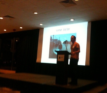 Photo: At the NJ Tech Meetup, Gil Olsen presented a short description of his website. Olsen hired a helicopter to create a map of the Jersey shore so homeowners could see and locate their damaged homes before they were allowed back on the barrier islands. Photo Credit: Esther Surden