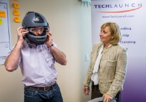 Photo: Fusar Tech CEO Ryan Shearman with Lt. Gov. Guadagno. Photo Credit: Mike Peters /Montclair State University