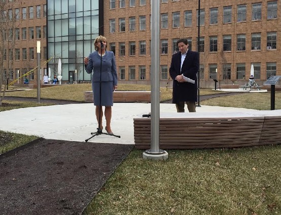 Photo: Lt. Gov. Kim Guadagno with Marcus Weldon at the garden dedication at Bell Labs. Photo Credit: Steven Galante