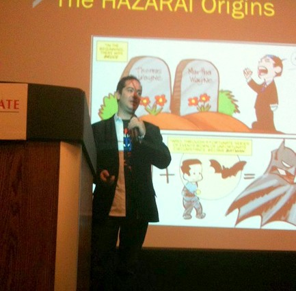 Photo: Hazarai giving the pitch at TechLaunch demo day. Photo Credit: TechLaunch