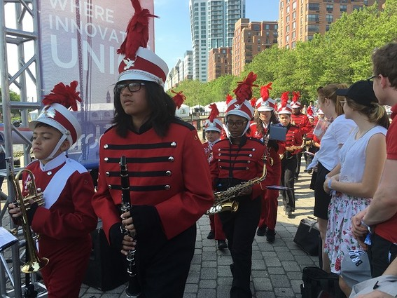 Photo: Hoboken's high school marching band, the Rockin' Redwings, opens Propelify.  Photo Credit: Esther Surden