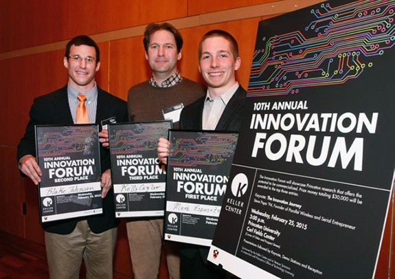 Photo: Top finishers in the 2015 Innovation Forum include, from left, Blake Johnson, Kelly Caylor and Mark Esposito. Their projects focused on nerve regeneration, environmental sensing for agriculture operations, and cancer therapy. Photo Credit:  Frank Wojciechowski for the Office of Engineering Communications