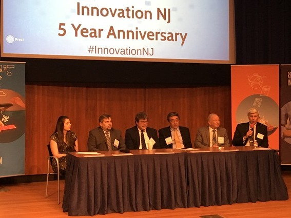 Photo: Panelists discussed industry-university collaboration case studies at the InnovationNJ 5th Anniversary event. Photo Credit: Esther Surden