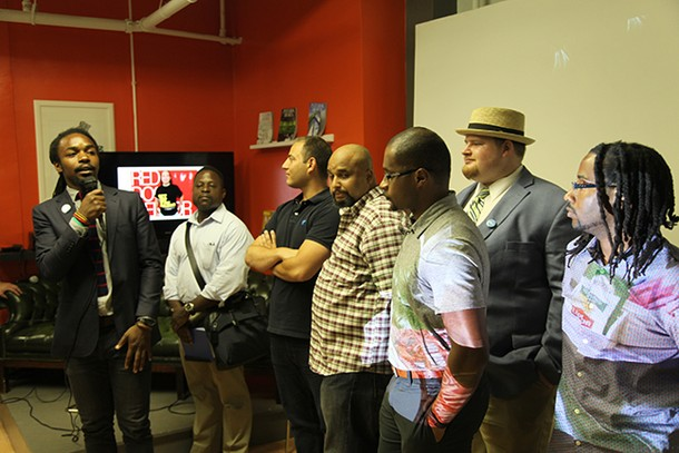 Photo: Isaiah Little and members of Code for Newark at =SPACE Photo Credit: Esther Surden