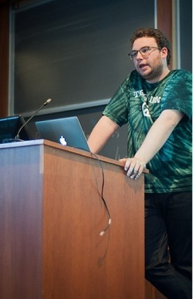 Photo: James Smits spoke about pitch decks. Photo Credit: Princeton Hack Week