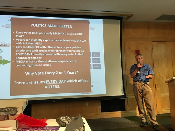 Photo: Jeff Pierce spoke about VoteLight. Photo Credit: Esther Surden