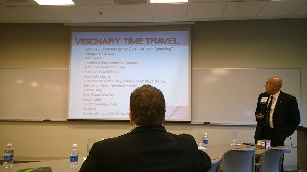 Photo: Joe Swaty discussed use cases for virtual reality. Photo Credit: John Critelli