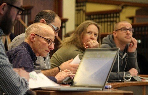 Photo: The judges listen to pitches at Hack Jersey. Photo Credit: Ryan Miller