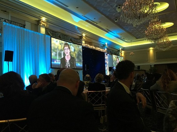 Photo: There were hundreds of people in the room for the 2017 New Jersey Tech Council Awards dinner, but we got this shot of Judith Sheft who has advanced tech entrepreneurship at NJIT for years, being awarded the Martinson-Ballen award. To us, Judith represents how one person can help change the landscape for tech in New Jersey. Photo Credit: Esther Surden