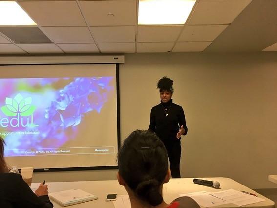 Photo: PeduL's Kayla Jackson pitches at NJIT Innovation Acceleration Challenge. Photo Credit: Esther Surden