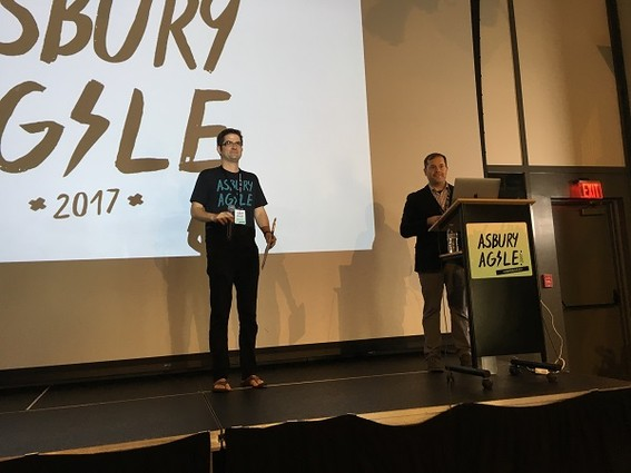 Photo: Kevin Fricovsky and Bret Morgan open Asbury Agile 2017 Photo Credit: Esther Surden