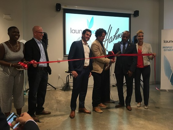Photo: Cutting the ceremonial ribbon at Launch Pad, Newark Photo Credit: Esther Surden
