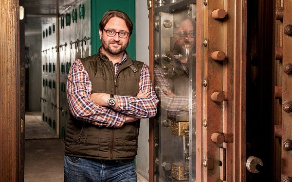 Photo: Linode's CEO Chris Aker in the vault at the new Phila. headquarters before the company's latest troubles. Photo Credit: Courtesy Linode