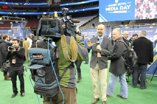 Photo: LiveU backpacks at Super Bowl Media day. Photo Credit: LiveU