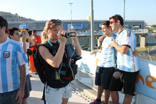 Photo: LiveU's backpack in use at the World Cup. Photo Credit: LiveU