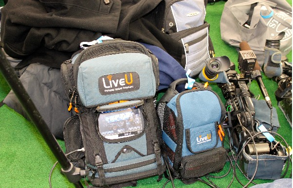 Photo: LiveU portable uplink backpacks ready for work. Photo Credit: LiveU